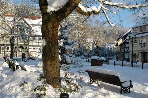 Der Marktplatz von Bad Grund im Winter